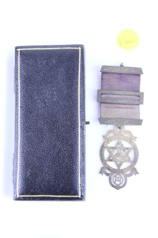 ANTIQUE MASONIC MEDAL BADGE W/ CASE
