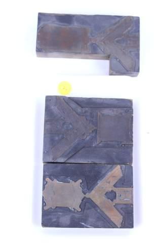 3 ANTIQUE MASONIC MEDAL BADGE PRINT BLOCKS