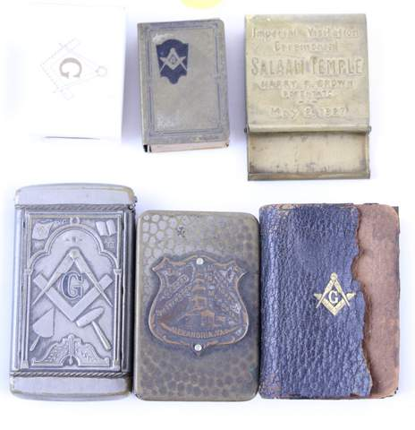 LOT OF 6 MISC. MASONIC ITEMS. MATCHSAFES MINI BIBLE
