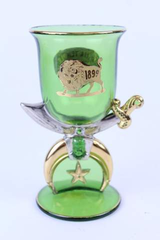 GREEN CLEAR GLASS SYRIA TEMPLE 1899 CUP