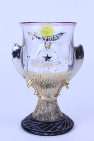 1908 ST. PAUL MINN.  HAND PAINTED CLEAR GLASS CUP