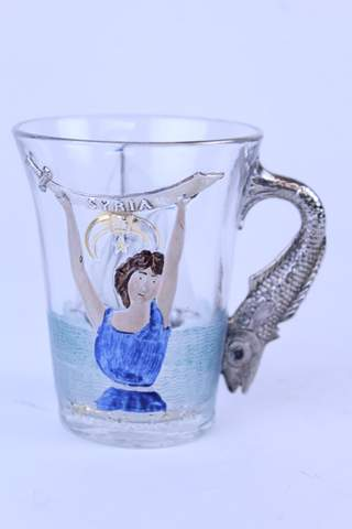 1904 ATLANTIC CITY HAND PAINTED GLEAR GLASS CUP