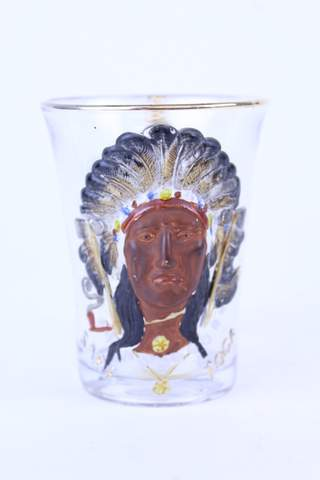 1903 SARATOGA NY HAND PAINTED INDIAN HEADRESS CLEAR GLASS CUP