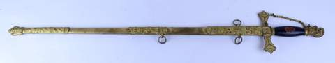 ANTIQUE KNIGHTS OF TEMPLAR SWORD W/ SHEATH CARL YONG ON BLADE