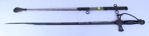 ANTIQUE KNIGHTS OF TEMPLAR SWORD W/ SHEATH J.H. GIBSON ON BLADE