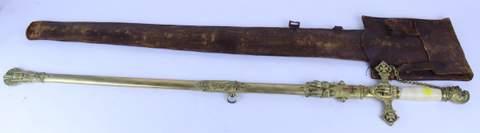 ANTIQUE KNIGHTS OF TEMPLAR SWORD W/ SHEATH AARON J. RAAB ON BLADE