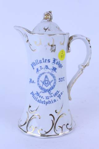 1913 PHILATED LODGE TEAPOT COFFEE CHOCOLATE POT