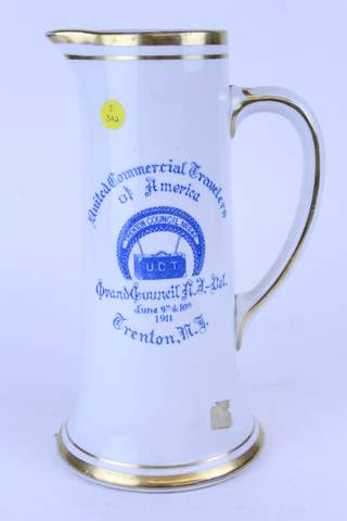 1911 TRENTON COUNCIL MASOINC TALL PITCHER