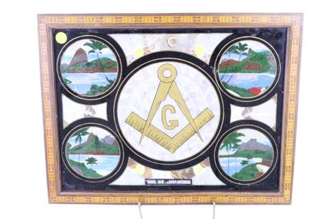 RIO DE JANEIRO INLAYED BUTTERFLY MASONIC PICTURE