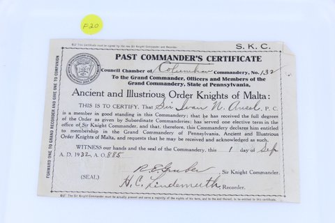 1932 PAST COMMANDERS CERTIFICATE