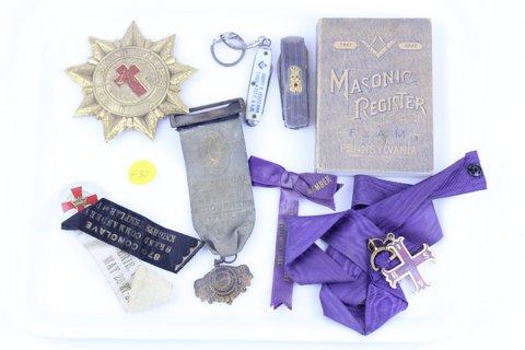 MASONIC RIBBONS, PINS, REGISTER BOOK, POCKET KNIVES