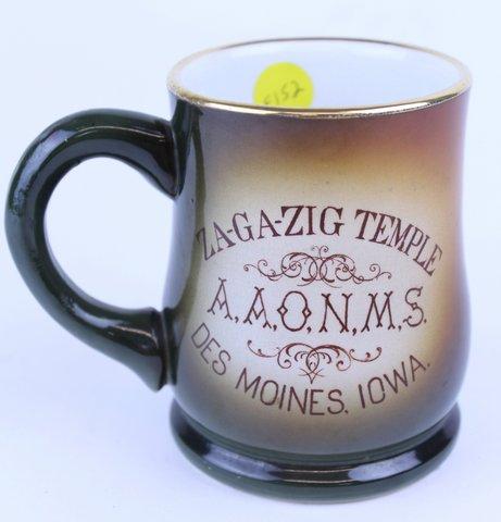 ZA-GA-ZIG TEMPLE DES MOINCE IOWA MUG 1904