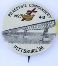 PO'KEEPSIE COMMANDERY #43 PIN PITTSBURGH 1898