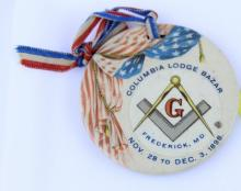 COLUMBIA LODGE BAZAR 1898 CELLULOID MEDALLION PEDANT