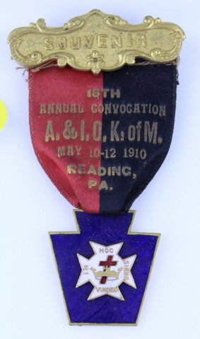 18TH ANNUAL CONVOCATION 1910 READING PA SOUVENIR RIBBON