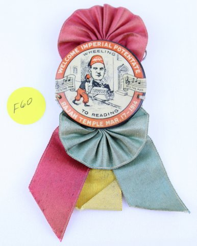 WHEELING TO READING RAJAH TEMPLE RIBBON PIN 1914