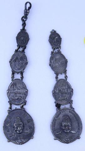 PAIR OF RAJAH SHRINER 1903 WATCH FOBS