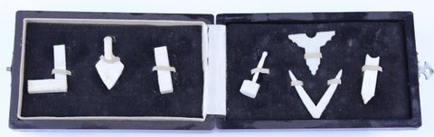 MINIATURE MASONS TOOL SET HAND CARVED BONE W/ CASE