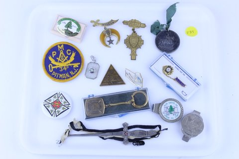 LOT OF MISC. MASONIC PINS MEDALS PATCH LETTER OPENER
