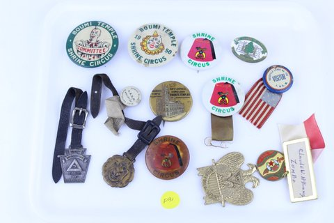 LOT OF MISC. MASONIC RAJAH BUTTONS WATCH FOBS