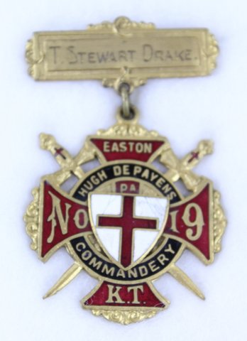 T. STEWART DRAKE EASTON PA COMMANDERY MEDAL