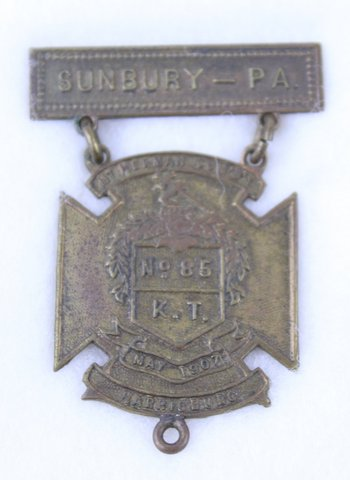 MT HERMAN COMMANDERY HARRISBURG PA SUNBURY PA MEDAL 1907