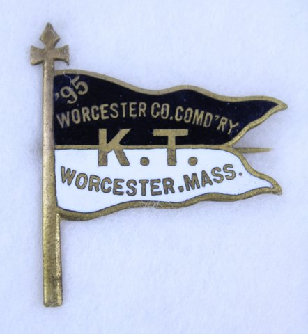WORCESTER MASS K.T. COMMANDERY PIN 1895