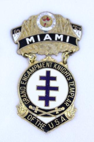 40TH TRIENNIAL CONCLAVE MIAMI FL MEDAL 1937