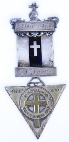 NW BRIMSFIELD BALTIMORE MARYLAND COMMANDERY MEDAL 1790-1871