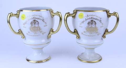 PAIR MASONIC ROYAL ARCH CHAPTER LANCASTER PA 3 HANDLE TANKARD LOVING CUP