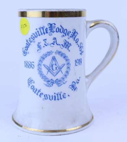 COATSVILLE LODGE 1913 TANKARD STEIN