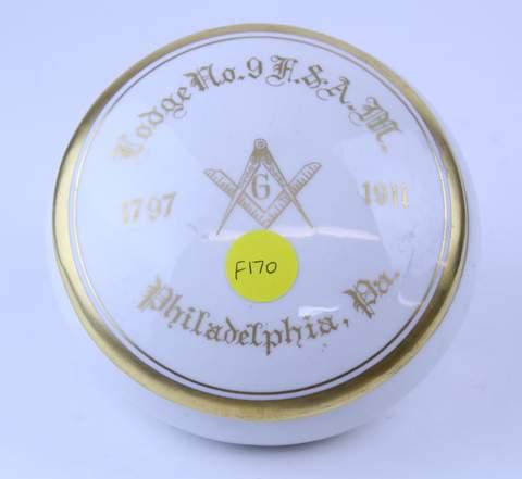 LODGE #9 F.&A.M. PHILADELPHIA PA POWDERBOX 1911