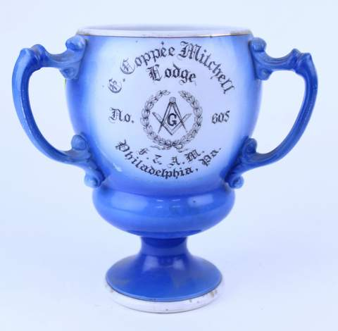 3 HANDLED MASONIC COPPEE MITCHELL LODGE PHILADELPHIA PA 1913 TANKARD LOVE CUP