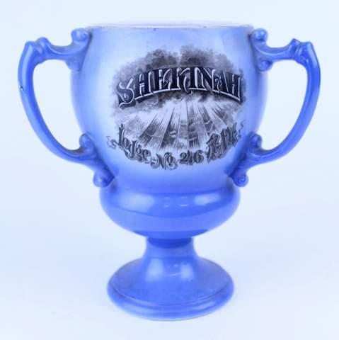 3 HANDLED MASONIC SHEKINAH LODGE 1910 TANKARD LOVE CUP