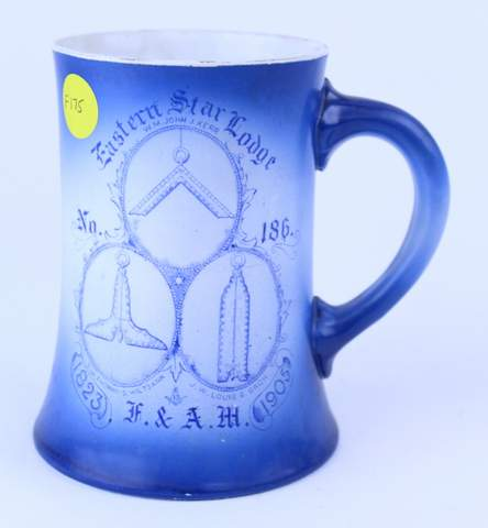 EASTERN STAR LODGE NO.186 OFFICERS TANKARD STEIN 1905