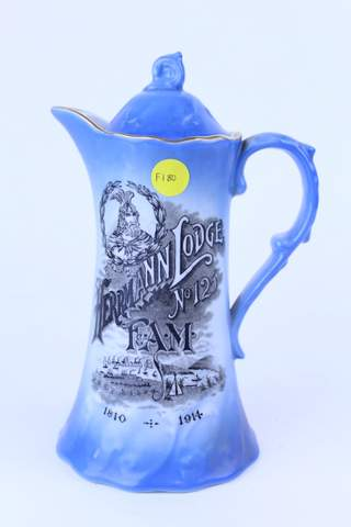 HERRMANN LODGE NO.125 F.&.A.M. PITCHER COFFEE CHOCOLATE POT 1914