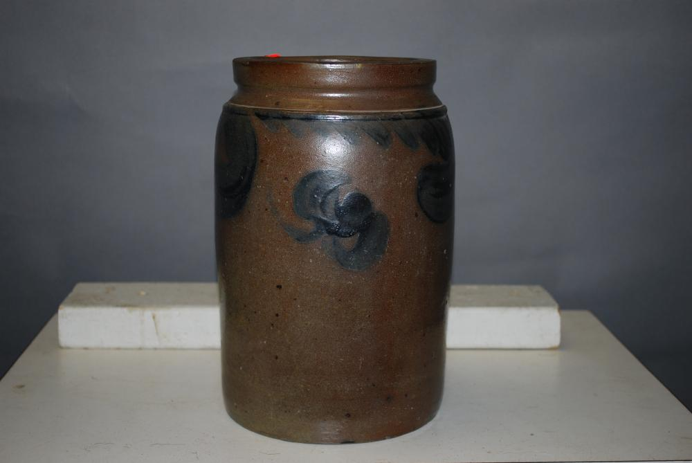 Dark Clay 1 Gallon Stamped and Decorated Stoneware Jar