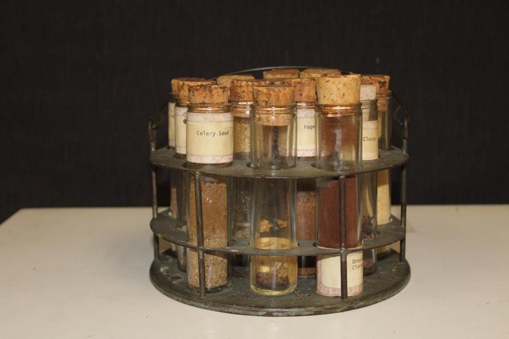 Antique Metal Spice Holder with Vial Style Containers with Corks