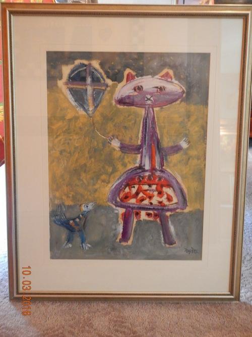 Cat, Bird, With kite