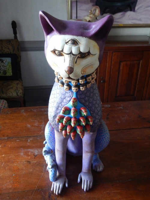 Purple cat Statue