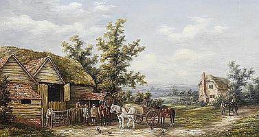 Attributed to Georgina Lara (British, fl. 1862-1871) Busy farmyard scenes, a pair (2)