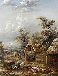 Georgina Lara (British, fl. 1862-1871) Farmyard scene