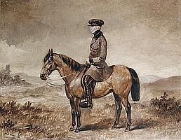 William Henry Wheelwright (British, 19th Century) A gentleman seated on a horse, a landscape beyond