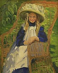 Elizabeth Campbell Fisher Clay (British/American, 1871-1959) Portrait of a young girl seated in a garden