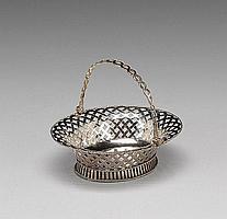 A George II silver swing-handled sweetmeat basket, by Edward Aldridge & John Stamper, London 1754,
