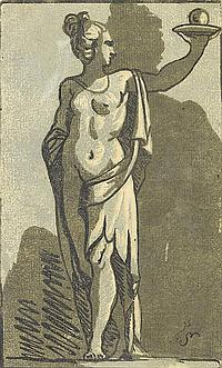 John Skippe (British, 1741-1811) Standing woman holding a sphere on a platter Chiaroscuro woodcut, after Parmigianino, on laid, printed from three blocks, 163 x 98mm (6 1/2 x 3 4/5in) unframed
