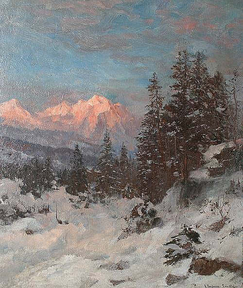Anders Andersen-Lundby (Danish, 1841-1923) A mountain sunset