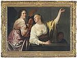 JAN GERRITSZ.VAN BRONCKHORST (UTRECHT CIRCA 1603- 1662 AMSTERDAM) Two women at a ston
