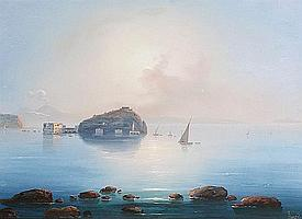 Emmanuel Meuris (Italian, 1894-1969) Neapolitan coastal scenes, a pair each 26.5 x 37cm (10 7/16 x 14 9/16in). (2)