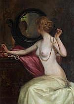 Thomas Austen Brown ARSA RSW RI (British, 1857-1924) Lady at her dressing t
